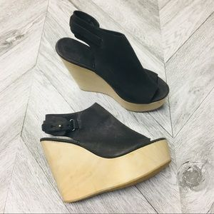 All Saints | Grey Leather City Wedge Wooden Heels